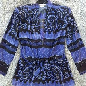 Vintage Sharon Anthony Printed Waist Tie Blouse